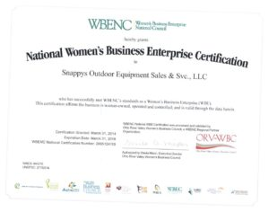 Snappy's WBENC Certificate